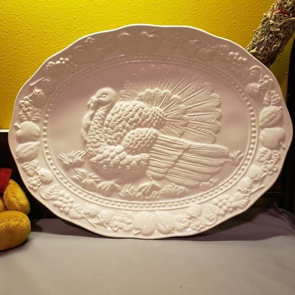 Vtg White Turkey Platter Raised Relief Embossed